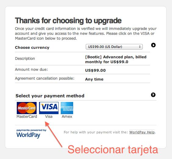 Selecciona tarjeta de crédito en RBS WorldPay