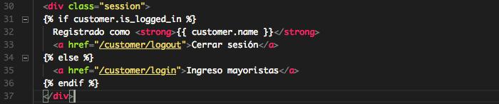 editando plantilla para mostrar links de cliente registrado